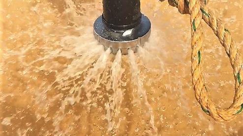 開放型ヘッドによる放水-放水量の測定試験