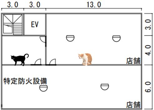 特定一階段等防火対象物 平面図 感知器