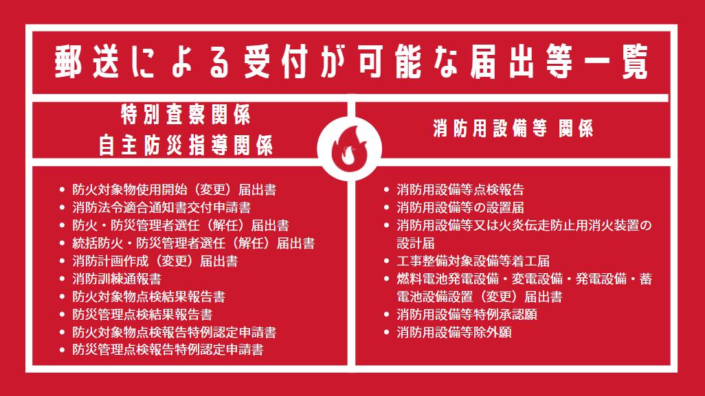 郵送で提出できる消防関係書類